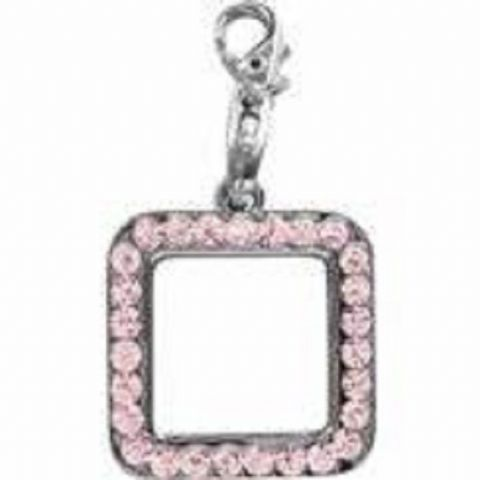 PHOTO FRAME PINK CRYSTAL CHARM FOR BAGS PHONES JEWELLERY ETC